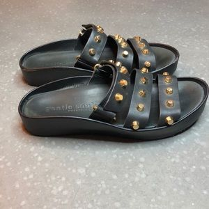Gentle Souls Unity 2 Black Leather Studded Sandal